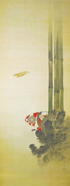 渡辺省亭画幅「奴凧に鶯」 渡辺省亭画幅「奴凧に鶯」  渡辺省亭画幅「奴凧に鶯」