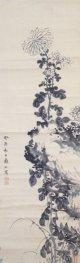 黒川亀玉画幅「菊花図」