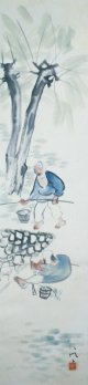 山口八九子画幅「柳下釣魚図」