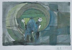 画像1: 難波田史男画額「暗渠に住む人」
