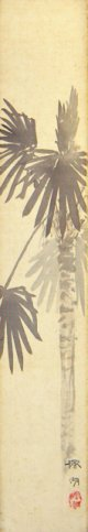 松本楓湖絵短冊「棕櫚」