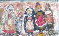 画像1: 朝井閑右衛門画額「人形の国」