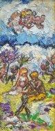 朝井閑右衛門画額「牧神とニンフ」