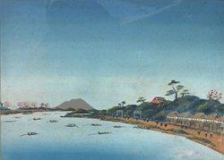 画像1: 泥絵額「筑波遠望隅田川舟遊び」