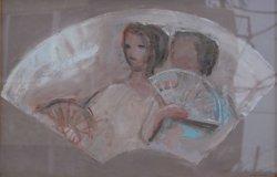 画像1: 海老原喜之助画額「扇面」