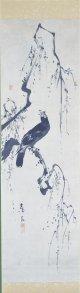 2代黒川亀玉画幅「叭々鳥」