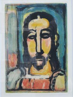画像1: ジョルジュ・ルオーカラー銅版画額「(正面向きの)キリスト」
