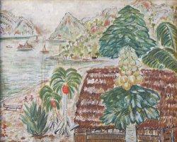 画像1: 横井弘三油彩額「南国風景」